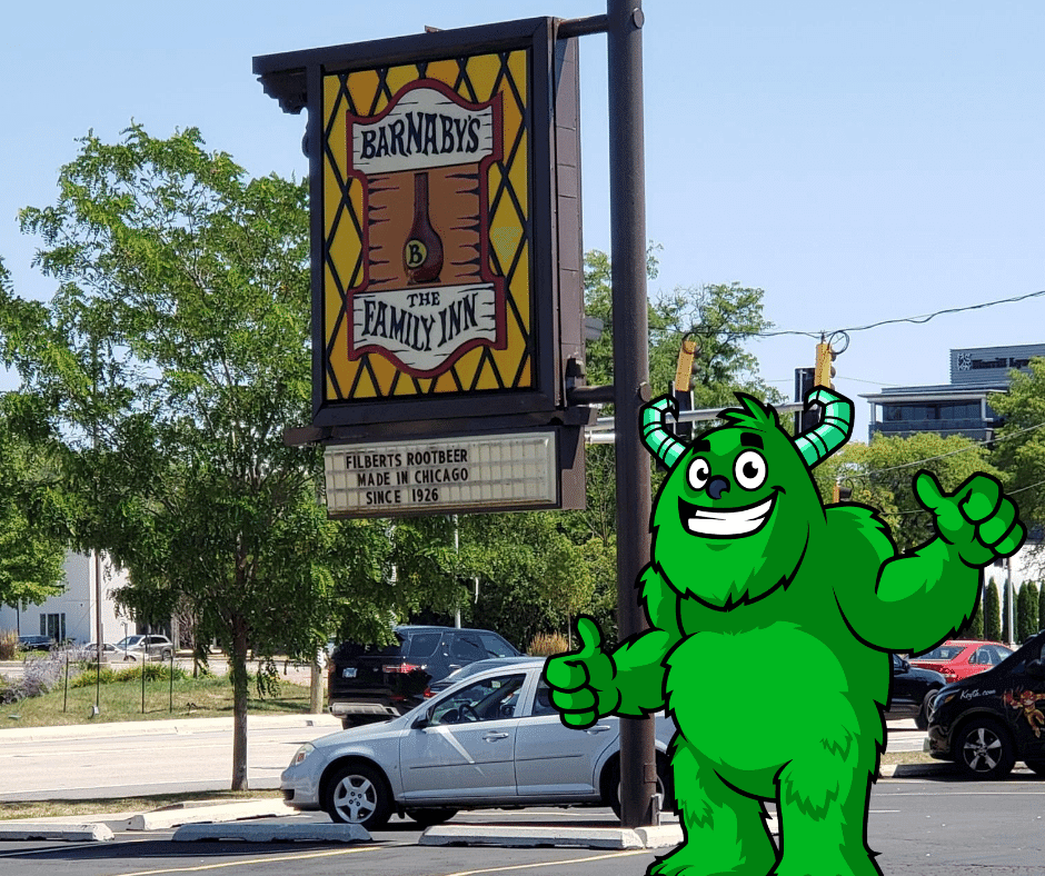 Mac the Monster loves the pizza at Barnaby's in Northbrook Il